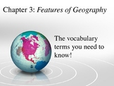 3rd Grade Social Studies---Features of Geography Vocabulary