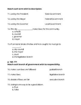 3rd Grade Social Studies- Government Test