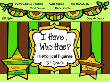 "3rd Grade Social Studies-Historical Figures-""I Have,Who Has?"""