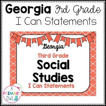 3rd Grade Social Studies I Can Statements-Georgia
