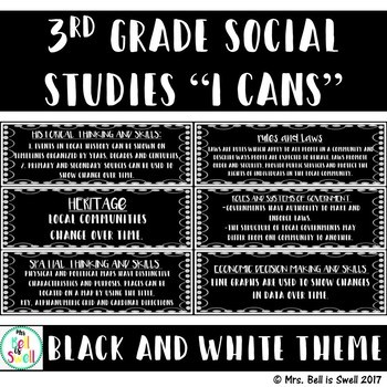 """3rd Grade Social Studies """"I Cans"""" (BLACK AND WHITE THEME)"""