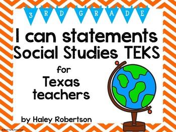 "3rd Grade Social Studies ""I can"" statements- Chevron pattern (using TEKS)"