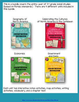 North America Social Studies Interactive Notebook Year-long BUNDLE