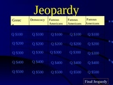3rd Grade Social Studies Jeopardy Game Review