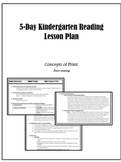 5-day Reading Lesson Plan for Kindergarten: Concepts of Print