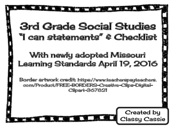 3rd Grade Social Studies Missouri Learning Standards I can