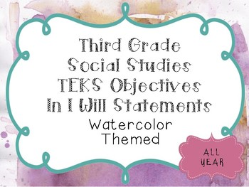 3rd Grade Social Studies Objectives TEKS based. Watercolored Classroom Themed