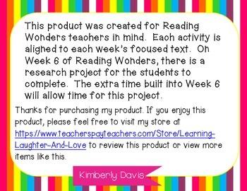 3rd Grade Social Studies Reading Wonders Aligned Activities- 1st Nine Weeks