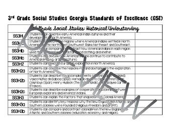 3rd Grade Social Studies Standards Checklist (Georgia)