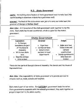3rd Grade Social Studies State Government Study Guide/Test Prep