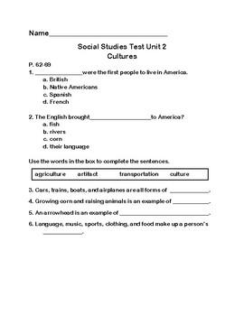 3rd Grade Social Studies Test- Culture