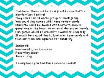 3rd Grade Social Studies Test Prep Review Question Cards CC, Georgia Milestones