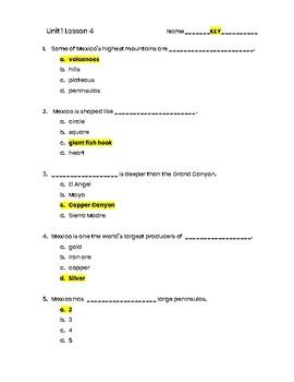 3rd Grade Social Studies Unit 1 Lesson 4 Quiz - Mexico