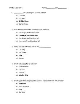 3rd Grade Social Studies Unit 2 Lesson 4 Quiz
