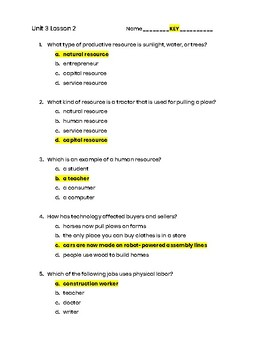 3rd Grade Social Studies Unit 3 Lesson 2 Quiz- Economics -Productive Resources