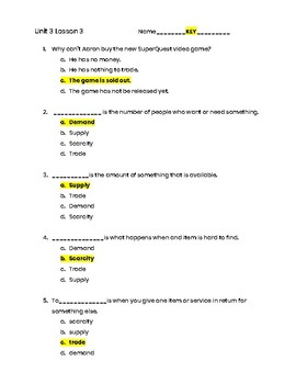 3rd Grade Social Studies Unit 3 Lesson 3 Quiz - Economics- Supply/Demand