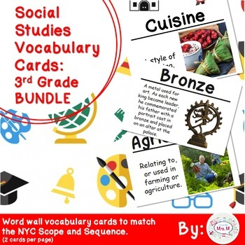 3rd Grade Social Studies Vocabulary Cards: All Year BUNDLE (Large)