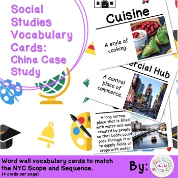 3rd Grade Social Studies Vocabulary Cards: China Case Study
