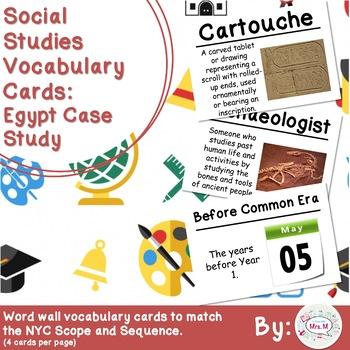 3rd Grade Social Studies Vocabulary Cards: Egypt Case Study