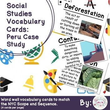 3rd Grade Social Studies Vocabulary Cards: Peru Case Study