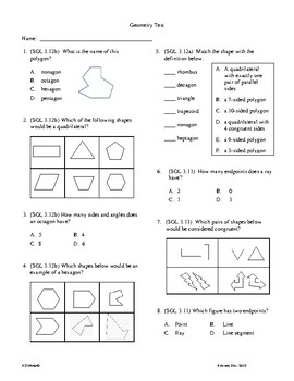 3rd Grade Spacial Relationships (Geometry) Unit Test