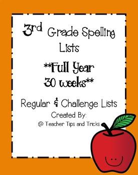 3rd Grade Spelling Lists ** Full Year **
