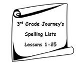 3rd Grade Spelling Lists - Journeys