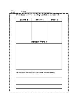 3rd Grade Spelling Sort Unit 1