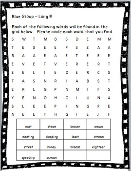 3rd Grade Spelling Unit Long E Patterns- 3 Different Levels of Differentiation