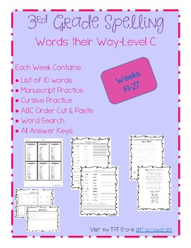 3rd Grade Spelling-Weeks 19-27 (aligned with Words their Way level C)