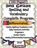 3rd Grade Spelling and Vocabulary Quarter 2 COMPLETE PROGRAM