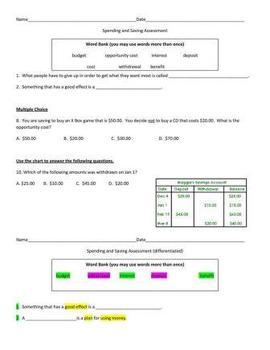 3rd Grade Spending and Saving Assessment
