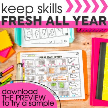 3rd Grade Math Spiral Review  | 3rd Grade Homework | Distance Learning