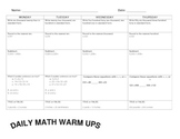 3rd Grade Spiral Review Daily Math Warm Ups (31 Pages)