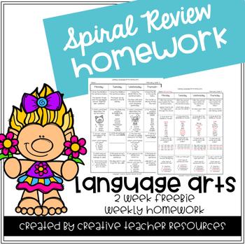 3rd Grade Spiral Review Homework- Language Arts-August September 2 Week Free