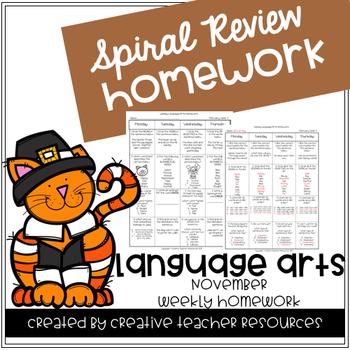 3rd Grade Spiral Review Homework-Language Arts-November
