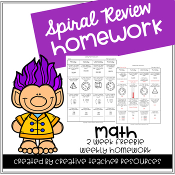 3rd Grade Spiral Review Homework- Math-August September 2