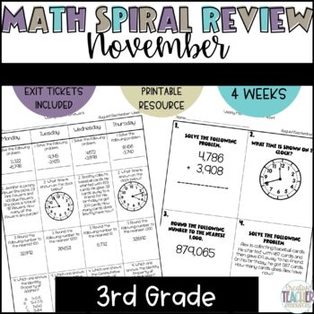 3rd Grade Spiral Review Homework-Math-November