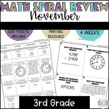 3rd Grade Weekly Math Spiral Review: November