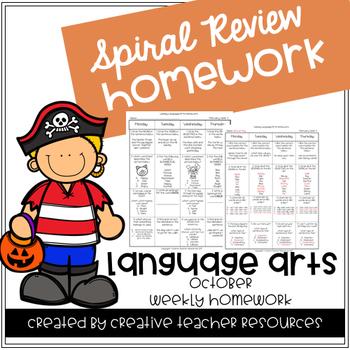 3rd Grade Spiral Review Homework-Language Arts-October