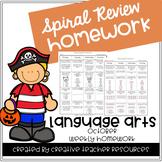 3rd Grade Weekly Language Arts Spiral Review: October