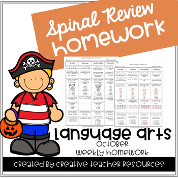 3rd Grade Weekly Language Arts Spiral Review: October