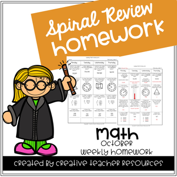 3rd Grade Weekly Math Spiral Review: October