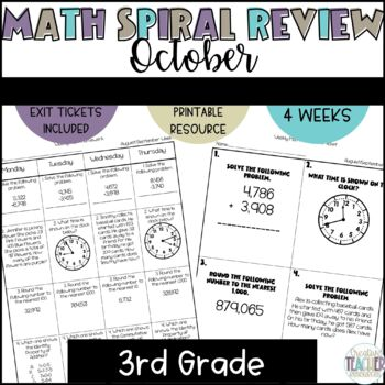 3rd Grade Spiral Review Homework-Math-October