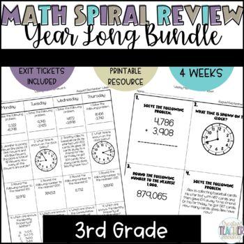 3rd Grade Spiral Review Homework-Math-Year Long Growing Bundle