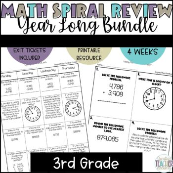 3rd Grade Spiral Review Homework-Math-Growing Bundle