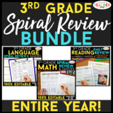 3rd Grade Spiral Review & Quiz BUNDLE   Reading, Math, Language   ENTIRE YEAR!