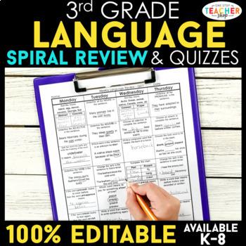 3rd Grade Spiral Review & Quiz BUNDLE | Reading, Math, Language | ENTIRE YEAR!