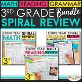 3rd Grade Spiral Review & Quiz BUNDLE   Reading, Math, Lan