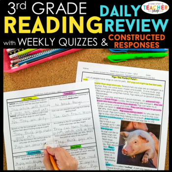 3rd Grade Spiral Review & Quiz BUNDLE | Reading, Math, Language | ENTIRE YEAR!